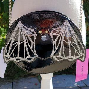 Betsey Johnson black bat crossbody Halloween